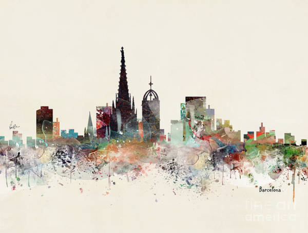 Watercolour Landscape Painting - Barcelona Skyline by Bri Buckley