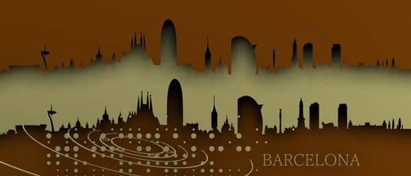 Digital Art - Barcelona Skyline.1 by Alberto RuiZ