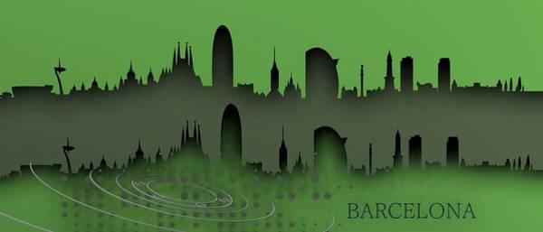 Digital Art - Barcelona Skyline.2 by Alberto RuiZ