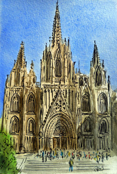 Cathedral Painting - Barcelona Spain by Irina Sztukowski