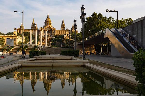 Photograph - Barcelona Street Glow - Golden Light Reflections On Avinguda De La Reina Maria Cristina by Georgia Mizuleva