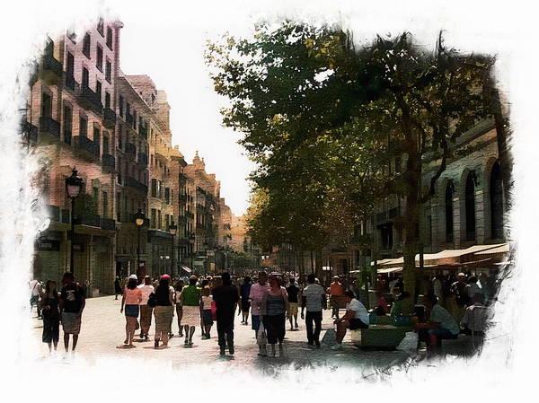 Digital Art - Barcelona Street Scene by Anthony Dezenzio