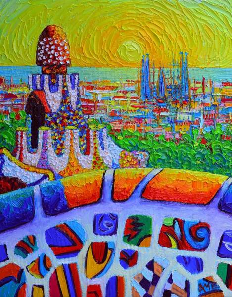 Painting - Barcelona Sunrise View Park Guell Abstract City Impressionism Knife Oil Painting Ana Maria Edulescu by Ana Maria Edulescu
