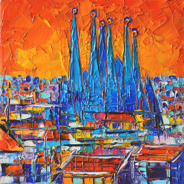 Painting - Barcelona Sunset Sagrada Familia Abstract City Palette Knife Oil Painting By Ana Maria Edulescu by Ana Maria Edulescu