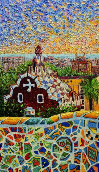 Painting - Barcelona View From Guell Park - Palette Knife Oil Painting By Ana Maria Edulescu - Left Panel by Ana Maria Edulescu