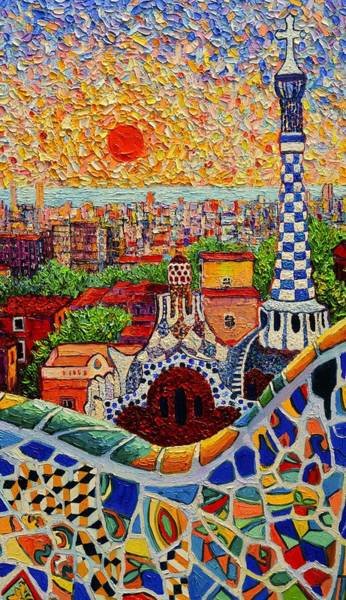 Wall Art - Painting - Barcelona View From Guell Park - Palette Knife Oil Painting By Ana Maria Edulescu - Right Panel by Ana Maria Edulescu