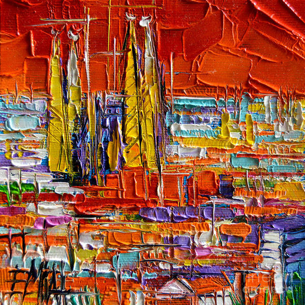 Wall Art - Painting - Barcelona Sagrada Familia View From Parc Guell Abstract Palette Knife Oil Painting by Mona Edulesco