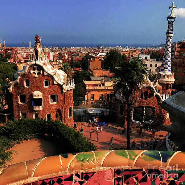 Mosaic Photograph - Barcelona View In Sunset Light by Mona Edulesco