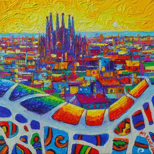 Painting - Barcelona View Sagrada From Park Guell Impressionist Abstract City Knife Painting Ana Maria Edulescu by Ana Maria Edulescu