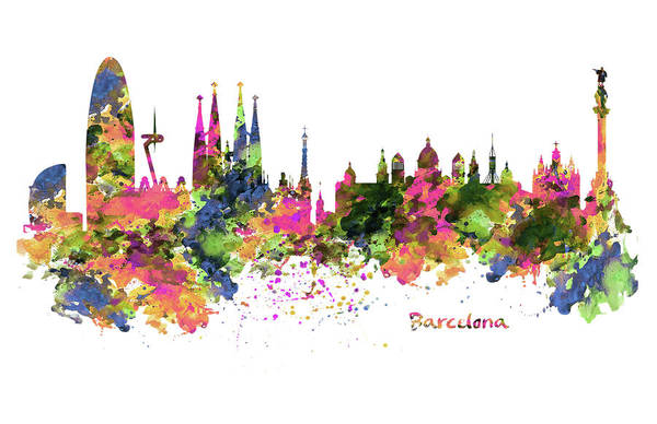 Aquarelle Painting - Barcelona Watercolor Skyline by Marian Voicu