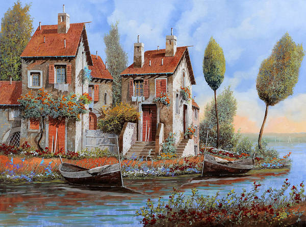 Lake House Painting - Barche A Riva by Guido Borelli