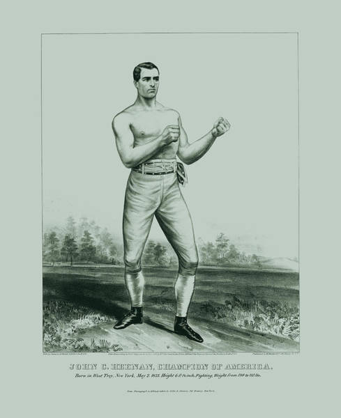 Bare Drawing - Bare Knuckle Prize Fighter - John C. Heenan - 1860 by War Is Hell Store