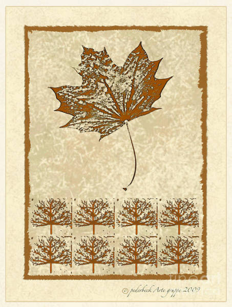 Arte Mixed Media - Bare Trees And Maple Leaf by Pederbeck Arte Gruppe
