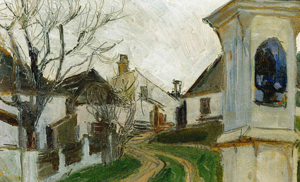 Painting - Bare Trees, Houses And Wayside Shrine by Egon Schiele