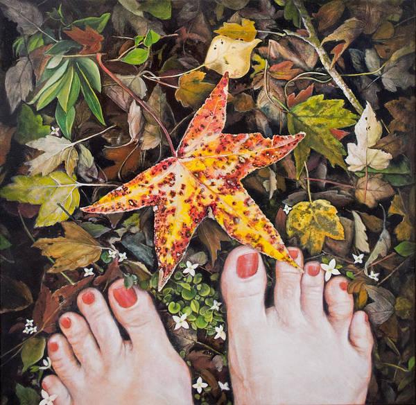 Clovis Painting - Barefoot With Sweetgum Leaf by Clovis Rusk