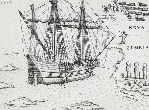 Galleons Wall Art - Drawing - Barents' Ship At Nova Zembla by Dutch School