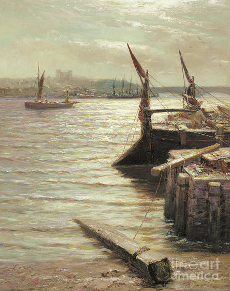 Wall Art - Painting - Barges Moored By The Riverbank by Colin Hunter