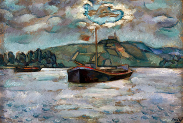 Russian Impressionism Wall Art - Painting - Barges On The River Don by Vladimir Davidovich Baranoff-Rossine
