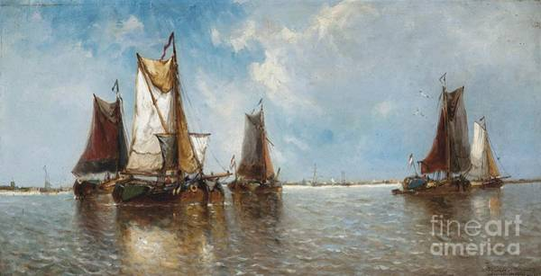Wall Art - Painting - Barges On The Scheldt At Baesrode by Celestial Images