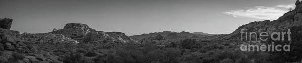 Tree Climbing Photograph - Barker Dam Hiking Trail Sunset Pano Bw by Michael Ver Sprill