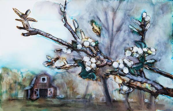 Tara Painting - Barn And Blossoms by Tara Thelen