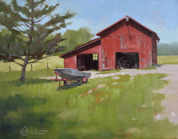 Red Barn Painting - Barn And Boat by Todd Baxter