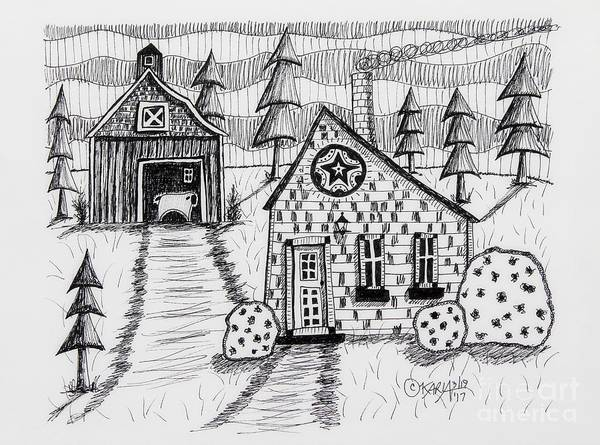 Wall Art - Drawing - Barn And Sheep by Karla Gerard