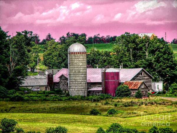 Mixed Media - Barn And Silo With Infrared Touch Of Pink Effect by Rose Santuci-Sofranko
