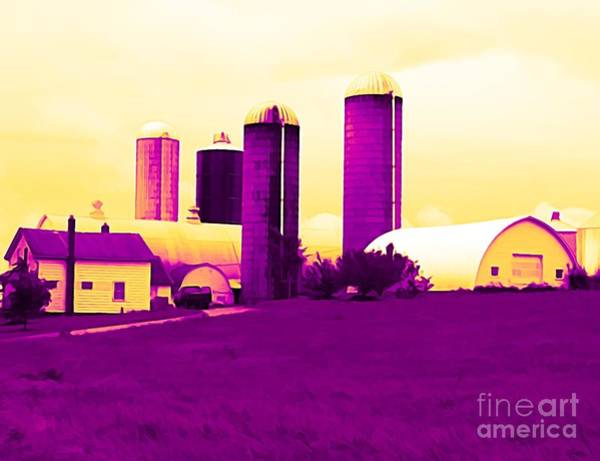 Mixed Media - Barn And Silos Amertrine Effect by Rose Santuci-Sofranko