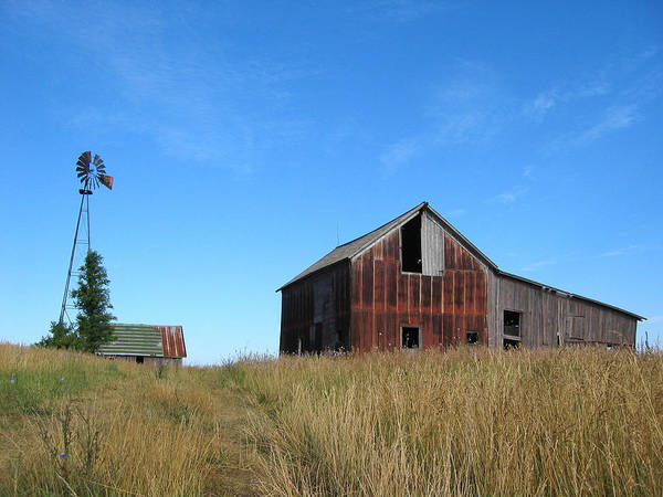 Photograph - Barn And Windmill by Dylan Punke