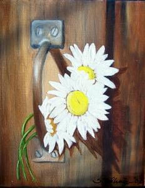 Painting - Barn Door Daisies Sold by Susan Dehlinger