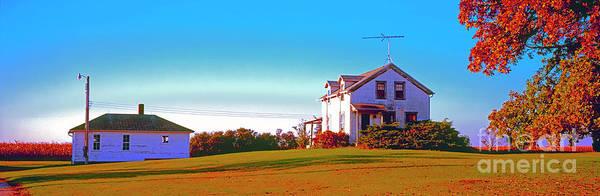 Photograph - Barn, Farm, House, Out Buildings, Illinois ,farming,fall by Tom Jelen