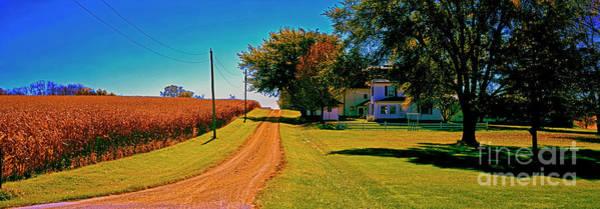 Photograph - Dirt Road, Barn, Farm, House, Out Buildings, Illinois ,farming,fall,rural by Tom Jelen