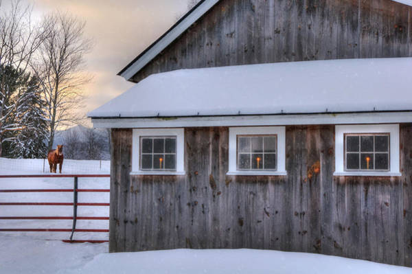 Photograph - Barn In Snow - White Mountains, New Hampshire by Joann Vitali