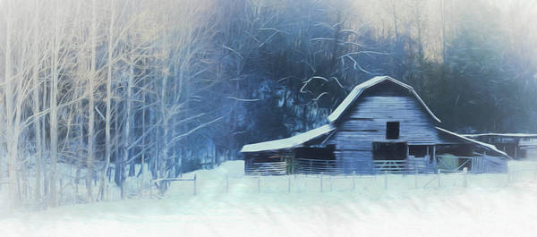 Snow Fence Digital Art - Barn In The Snow by Lisa Bell