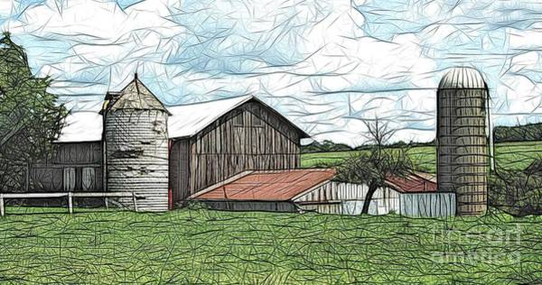 Photograph - Barn Landscape Colored Pencil Chicken Scratch Effect by Rose Santuci-Sofranko