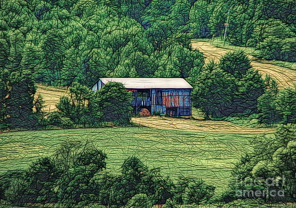 Photograph - Barn On A Hillside In Canandaigua Ny Abstract Sketch Effect by Rose Santuci-Sofranko