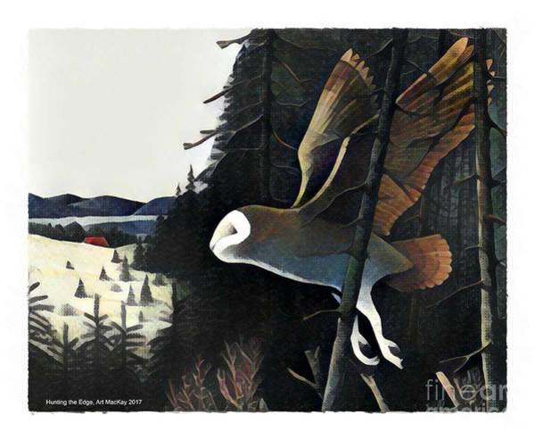 Mixed Media - Barn Owl Hunting The Edge by Art MacKay