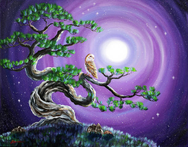 Wall Art - Painting - Barn Owl In Twisted Pine Tree by Laura Iverson