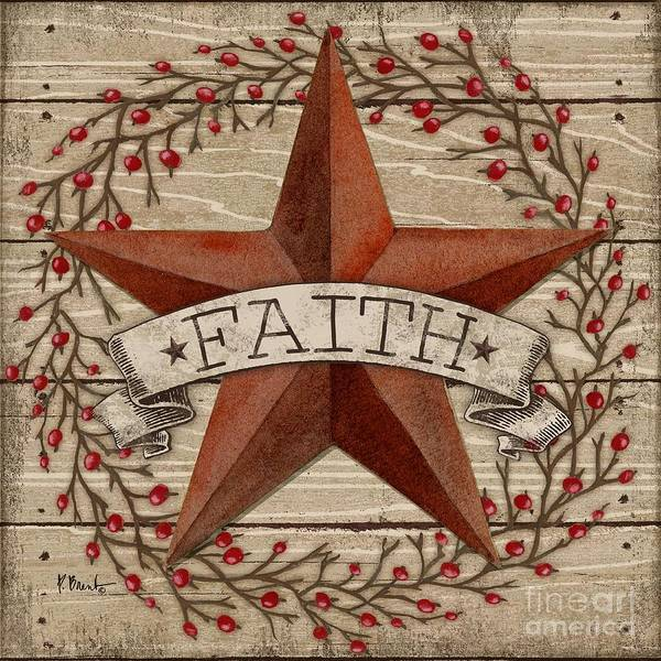 Wall Art - Painting - Barn Star With Berries I by Paul Brent