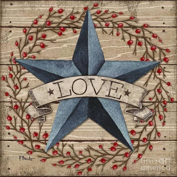 Wall Art - Painting - Barn Star With Berries II by Paul Brent
