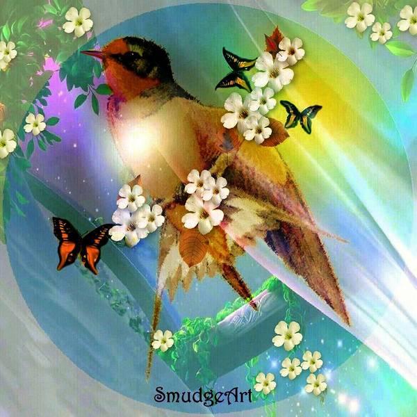 Flowering Trees Digital Art - Barn Swallow  by Madeline  Allen - SmudgeArt