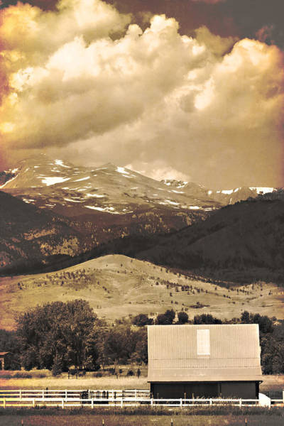 Photograph - Barn With A Rocky Mountain View In Sepia by James BO Insogna