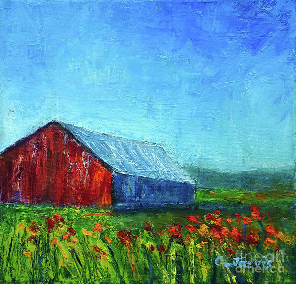 Painting - Barn With Flowers by Carolyn Jarvis