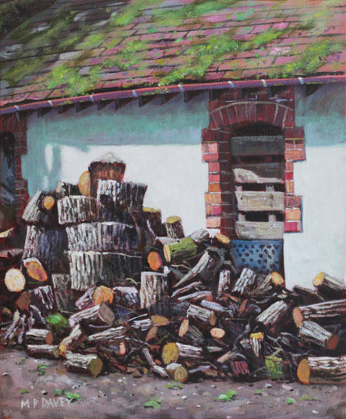 Painting - Barn With Log Pile by Martin Davey