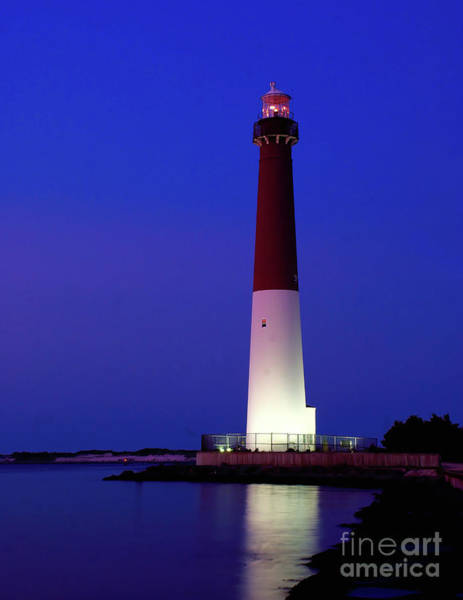 Photograph - Barnegat Lighthouse At Night by Nick Zelinsky