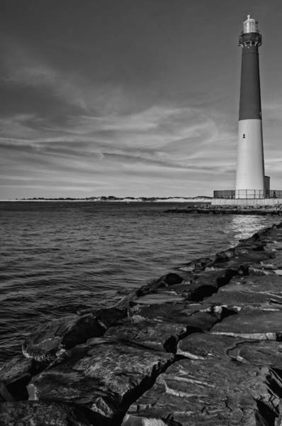 Photograph - Barnegat Lighthouse Bw by Susan Candelario