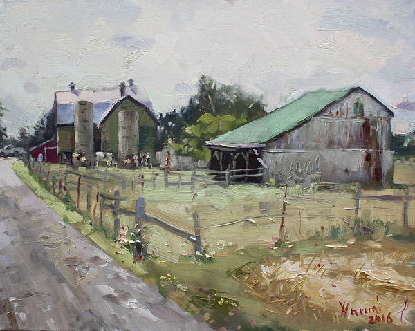 Old Barns Wall Art - Painting - Barns And Old Shack In Norval by Ylli Haruni