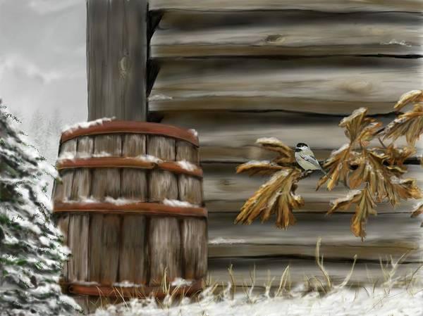 Digital Art - Barnyard Barrel And Chickadee by Darren Cannell