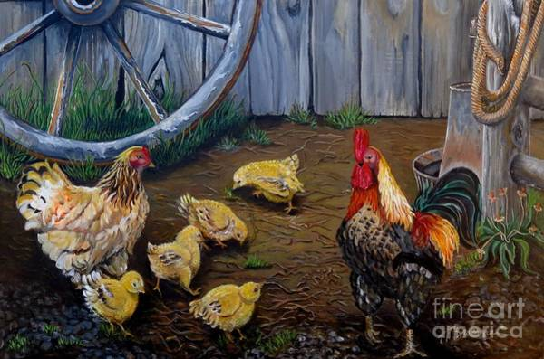 Holly Brannan Wall Art - Painting - Barnyard Chickens by Holly Bartlett Brannan